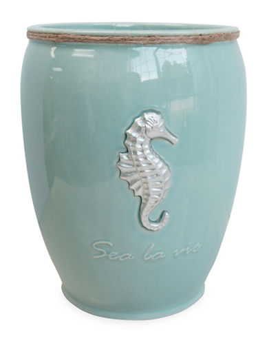 Famous Home Fashions Inc. (Dd) Sea La Vie Ceramic Wastebasket-BLUE-One Size