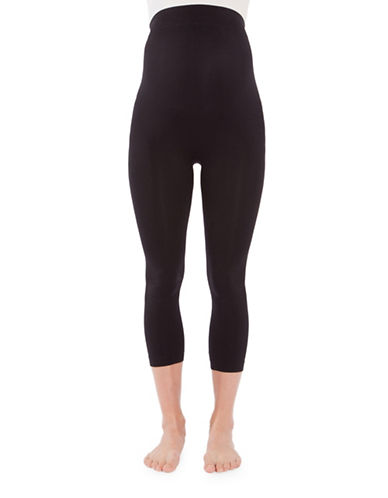 Modern Eternity Maternity Emma Seamless Capri Leggings-BLACK-Medium