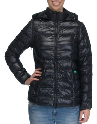 Modern Eternity Lola 5-in-1 Lightweight Down Maternity Jacket-BLACK-Medium