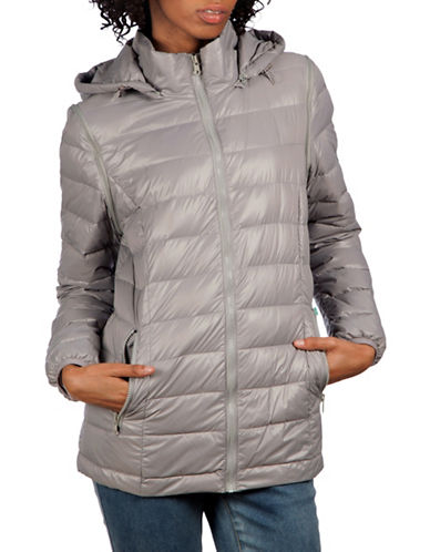 Modern Eternity Lola 5-in-1 Lightweight Down Maternity Jacket-GREY-X-Small
