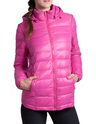 Modern Eternity Lola 5-in-1 Lightweight Down Maternity Jacket-RASBERRY-Small