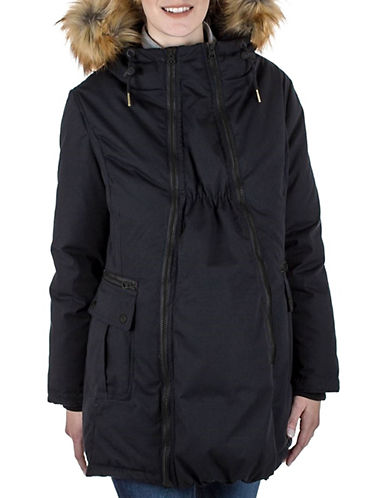 Modern Eternity Sara Faux Fur-Trimmed Three-In-One Maternity Parka-BLACK-Small