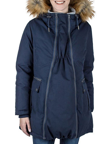 Modern Eternity Sara Faux Fur-Trimmed Three-In-One Maternity Parka-NAVY-Large
