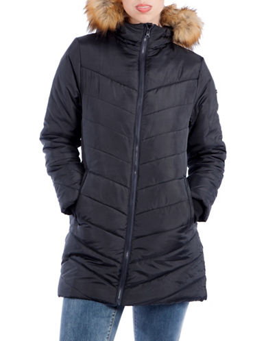 Modern Eternity Maternity Lexie 3-in-1 Faux Fur-Accented Semi-Fitted Puffer Coat-BLACK-Medium