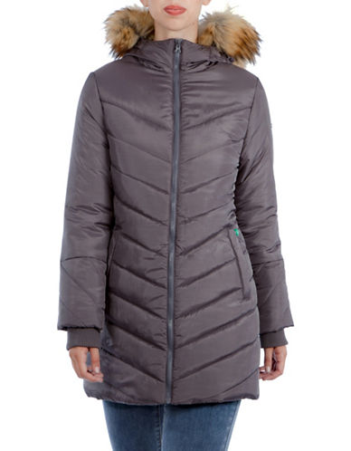 Modern Eternity Maternity Lexie 3-in-1 Faux Fur-Accented Semi-Fitted Puffer Coat-GREY-Medium