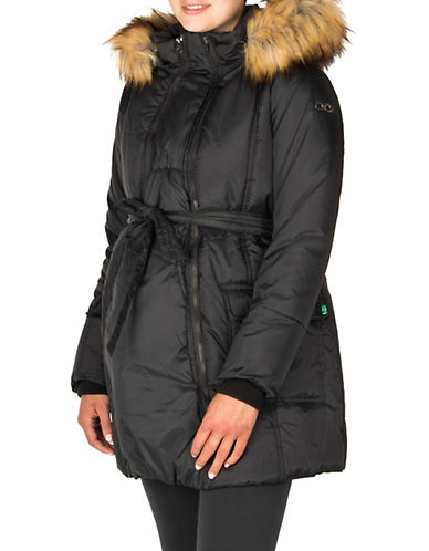 Modern Eternity Maternity Rachel 3-in-1 Mid-Thigh Faux Fur-Accented Puffer Coat-BLACK-Small