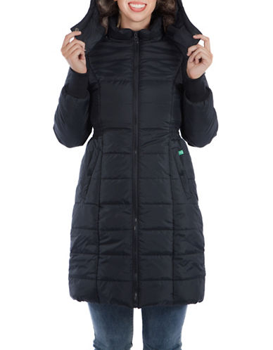 Modern Eternity Maternity Madison 3-in-1 Faux Fur-Accented Quilted Puffer Coat-BLACK-Small