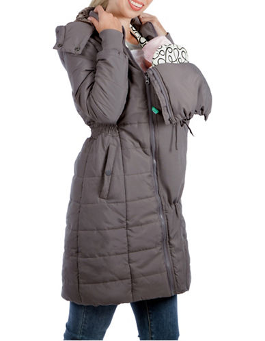 Modern Eternity Maternity Madison 3-in-1 Faux Fur-Accented Quilted Puffer Coat-GREY-Small