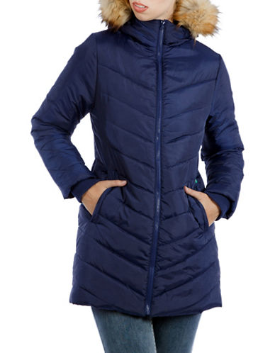 Modern Eternity Maternity Lexie 3-in-1 Faux Fur-Accented Semi-Fitted Puffer Coat-BLUE-Small