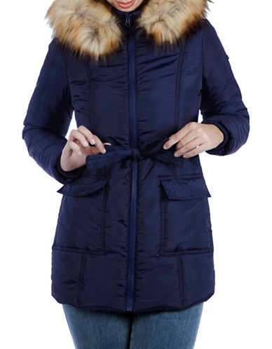 Modern Eternity Maternity Rachel 3-in-1 Mid-Thigh Faux Fur-Accented Puffer Coat-BLUE-X-Small