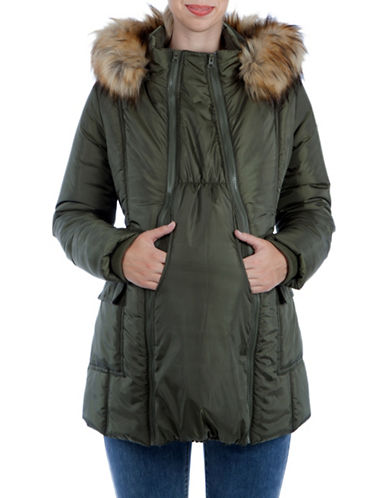 Modern Eternity Maternity Rachel 3-in-1 Mid-Thigh Faux Fur-Accented Puffer Coat-GREEN-Large