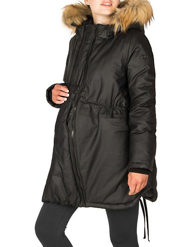 Modern Eternity Maternity Sofia 3-in-1 Faux Fur-Accented Waxed Parka-BLACK-X-Large