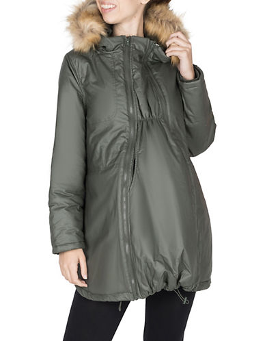 Modern Eternity Maternity Sofia 3-in-1 Faux Fur-Accented Waxed Parka-GREEN-X-Large