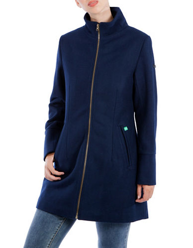 Modern Eternity Maternity Brittany 3-in-1 Semi-Fitted Wool-Blend Coat-BLUE-Small