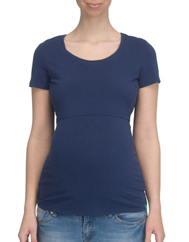 Modern Eternity Nia Short Sleeve Nursing Top-BLUE-Small
