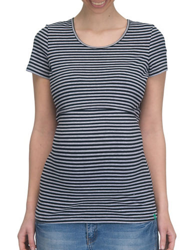 Modern Eternity Nia Short Sleeve Nursing Top-BLACK/GREY-Medium