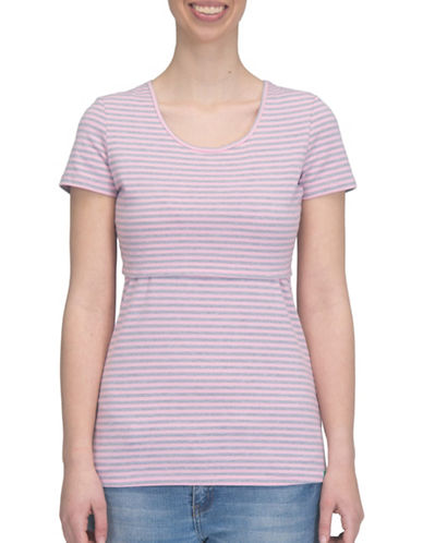 Modern Eternity Nia Short Sleeve Nursing Top-PINK/GREY-X-Large