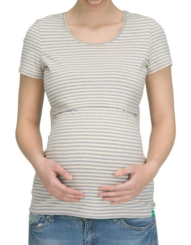 Modern Eternity Nia Short Sleeve Nursing Top-GREY/WHITE-Medium