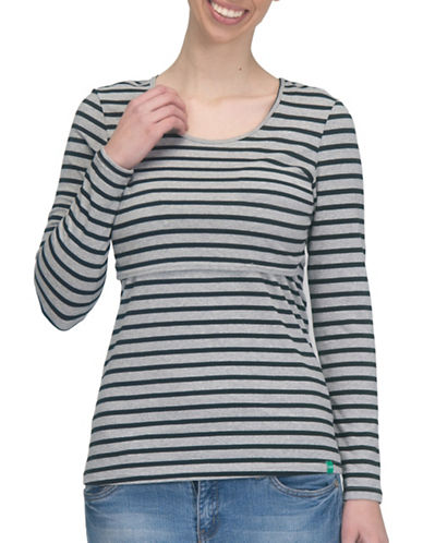 Modern Eternity Charlotte Long Sleeve Nursing Top-BLACK/GREY-X-Large