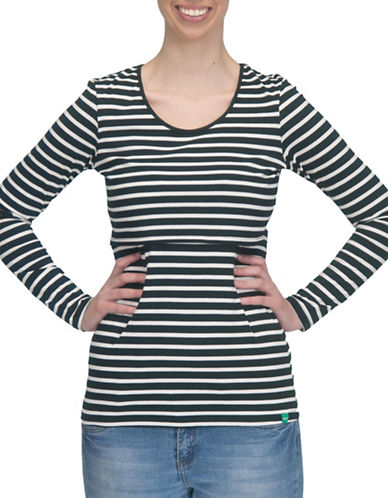 Modern Eternity Charlotte Long Sleeve Nursing Top-BLACK/WHITE-Medium