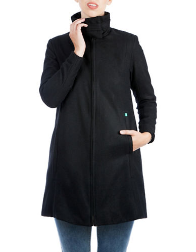 Modern Eternity Maternity Lauren 3-in-1 Wool-Blend A-Line Coat-BLACK-Small