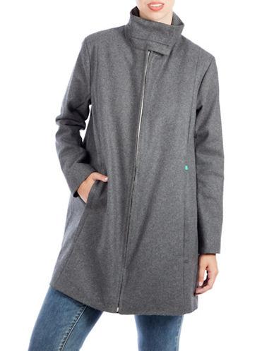 Modern Eternity Maternity Lauren 3-in-1 Wool-Blend A-Line Coat-GREY-Medium
