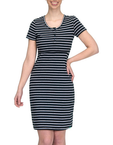 Modern Eternity Striped Nursing Henley Dress-BLACK MULTI-X-Small