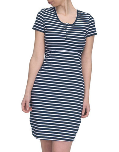 Modern Eternity Striped Nursing Henley Dress-BLUE/WHITE-Small