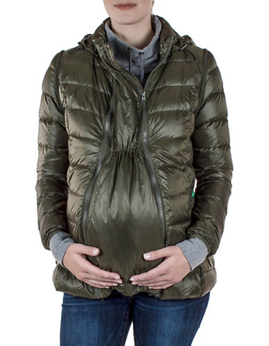 Modern Eternity Lola 5-in-1 Lightweight Down Maternity Jacket-GREEN-X-Large