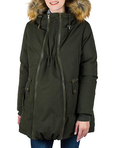 Modern Eternity Sara Faux Fur-Trimmed Three-In-One Maternity Parka-GREEN-Large