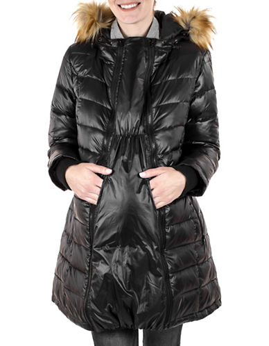 Modern Eternity Abigail Quilted Faux Fur-Trimmed Three-In-One Maternity Parka-BLACK-X-Large