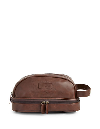 Perry Ellis Textured Faux Leather Travel Kit-BROWN-One Size