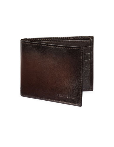 Perry Ellis Boxed Michigan Slim Leather Bi-Fold Wallet-BROWN-One Size