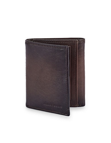 Perry Ellis Boxed Michigan Slim Leather Tri-Fold Wallet-BROWN-One Size