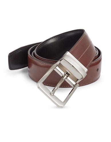 Perry Ellis Laser Line Reversible Leather Belt-BROWN-32