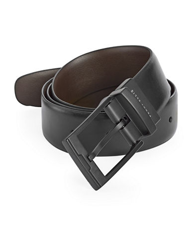 Perry Ellis Reversible Smooth Leather Belt-BLACK-42