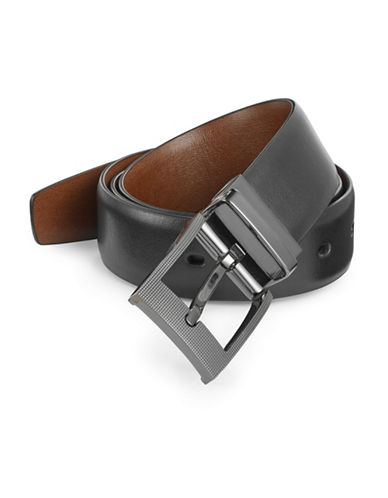 Perry Ellis Zeus Reversible Leather Belt-BLACK-36