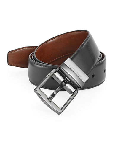 Perry Ellis Reversible Smooth Leather Belt-BLACK-30