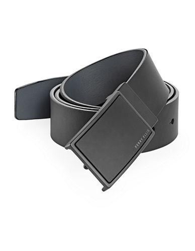 Perry Ellis Reversible Plaque Buckle Leather Belt-BLACK-36