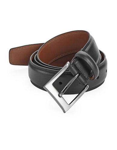 Perry Ellis Timothy Full Grain Leather Belt-BLACK-32