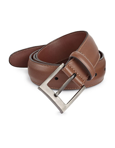 Perry Ellis Timothy Full Grain Leather Belt-BROWN-32