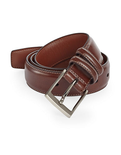 Perry Ellis Milled Leather Belt-BROWN-38