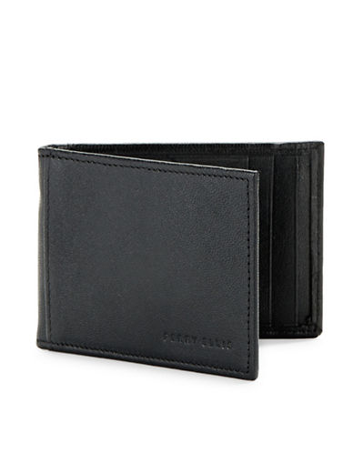 Perry Ellis Boxed RIFD-Blocking Leather Portfolio Wallet-BLACK-One Size