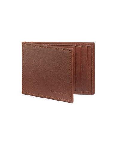 Perry Ellis Boxed RIFD-Blocking Leather Portfolio Wallet-TAN-One Size