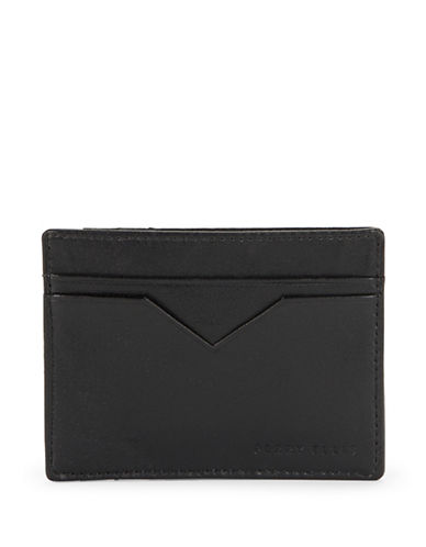 Perry Ellis Leather Card Case Wallet-BLACK-One Size