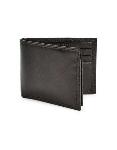 Perry Ellis RFID-Secure Casual Leather Bi-Fold Wallet-BLACK-One Size