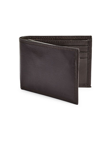 Perry Ellis RFID-Secure Casual Leather Bi-Fold Wallet-BROWN-One Size