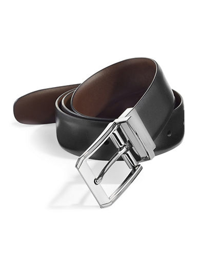 Perry Ellis Love Triangle Reversible Leather Belt-BLACK-34