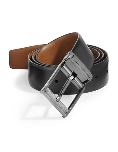 Perry Ellis Scatch Reversible Belt-BLACK-40