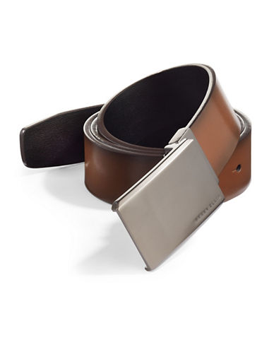 Perry Ellis Matte At Me Reversible Leather Belt-BROWN-40